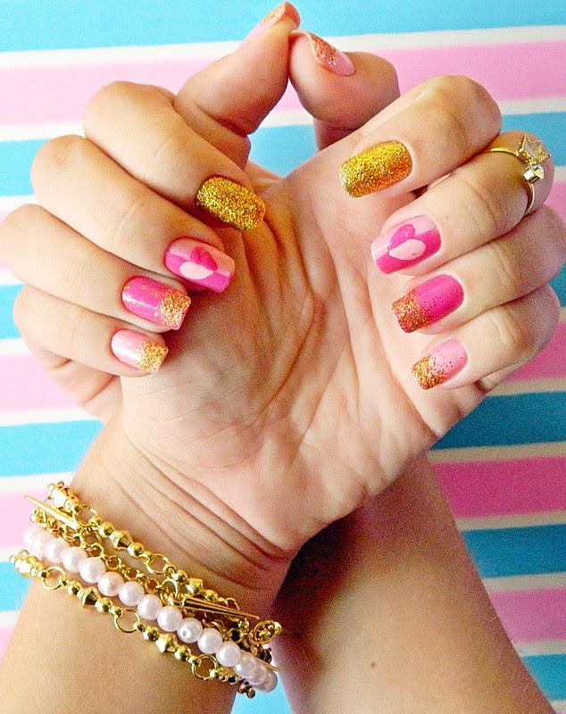juliana leite unhas rosa glitter dourado coração amor holografic 009