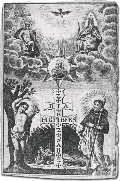 Holy image with the Holy Trinity, Saint Sebastian, Saint Rochus, Saint Rosalia and the Zacharias-cross, Hungary, around 1710