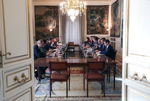 Spanish State Secretaries and undersecretaries discuss yesterday's events at the State Secretary of Land Management