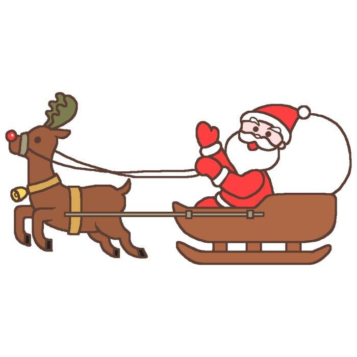 トナカイのソリに乗ってカラーサンタクロース1クリスマスのイラスト素材