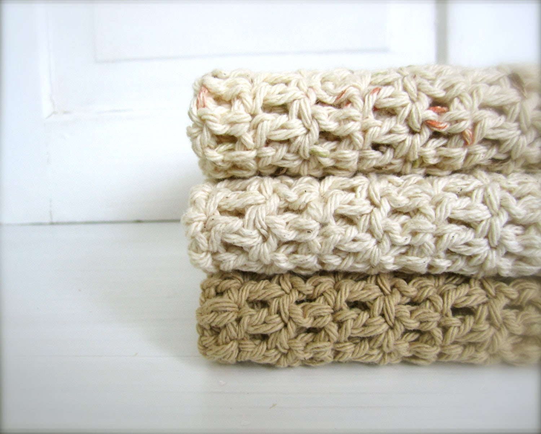 Crochet 100% Cotton Washcloths Dishcloths, Facecloths Set of 3, Mocha Tan, Natural Cream, Neutral - craftsbybeck