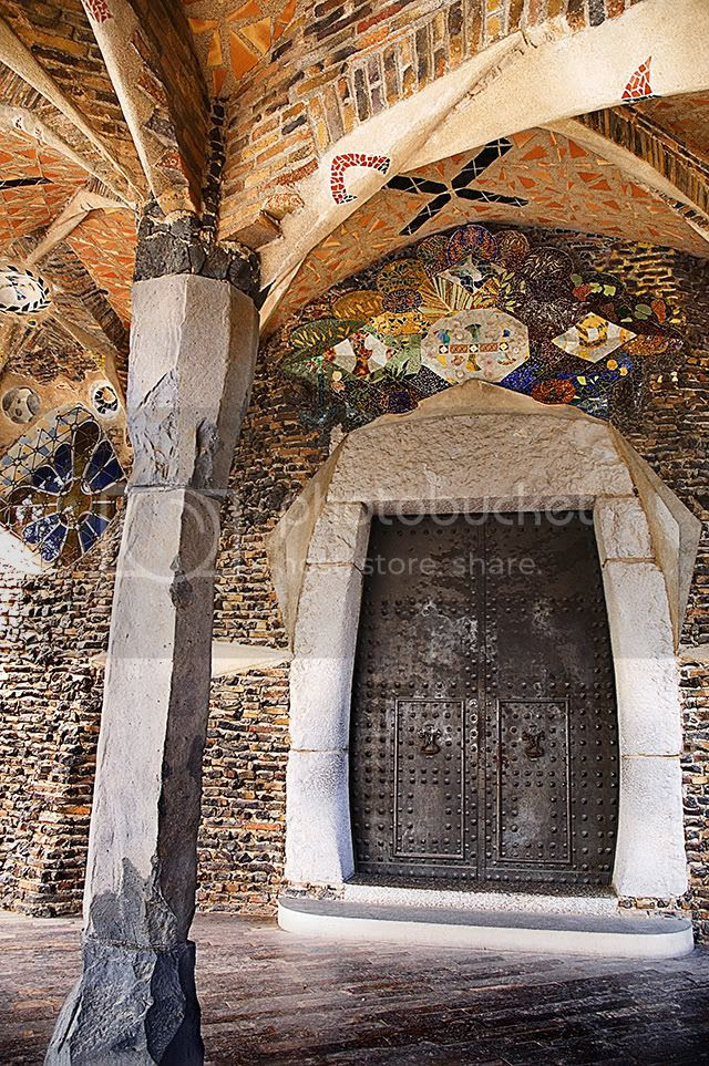 Modernist Door and Mosaic at Crypt in Colonia Guell