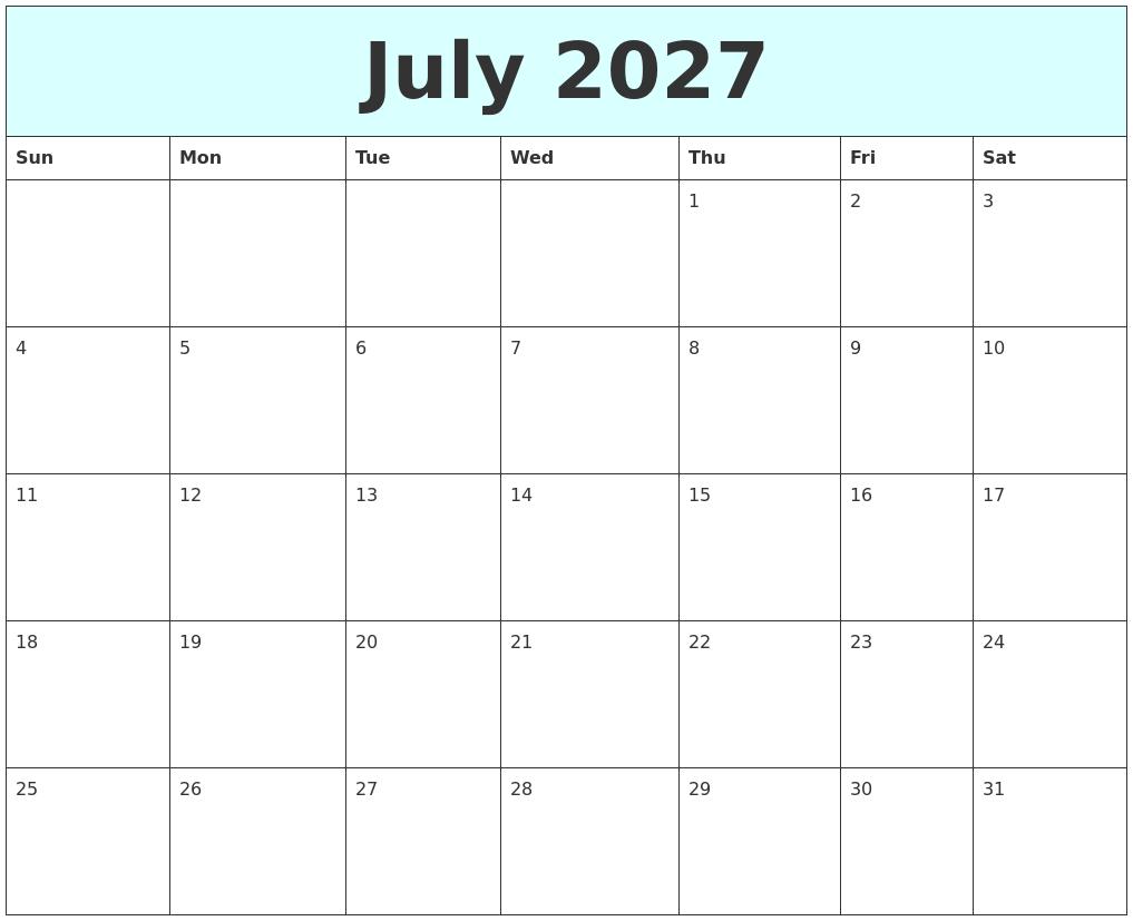 july 2027 free calendar