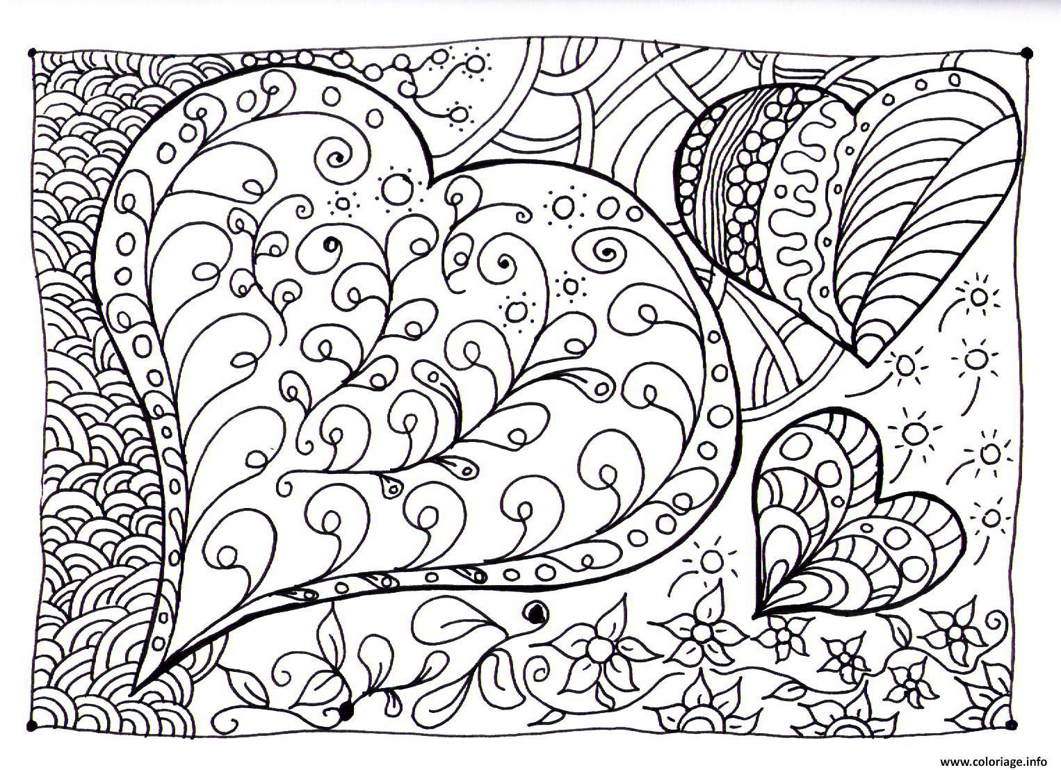 Coloriage Amour Adulte Coeur Zen Dessin  Imprimer