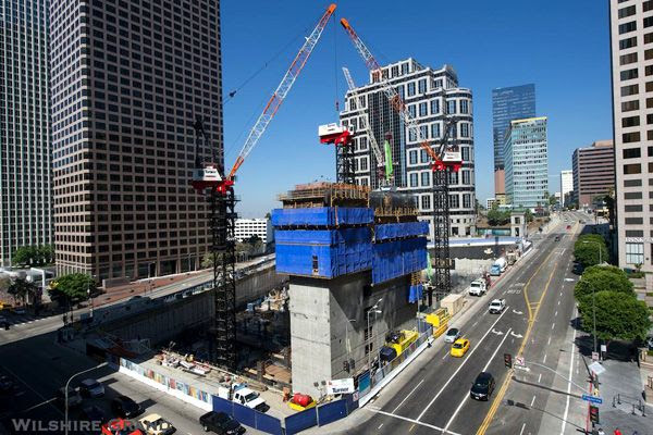 The Wilshire Grand Center's construction status as of September 4, 2014.