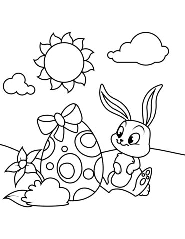 cute bunny and easter egg coloring page  free printable coloring pages