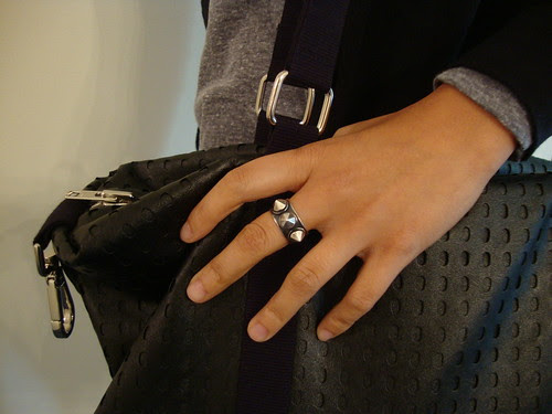 "Antoinette's stud ring & the U-Handbag ""It's a Cinch"" tote"