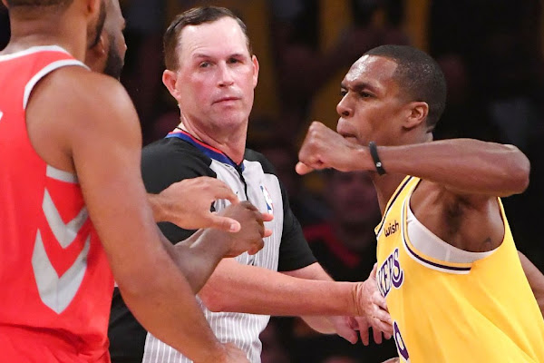 2935778fb89 Rajon Rondo of Los Angeles Lakers denies intentionally spitting on Chris  Paul of Houston Rockets