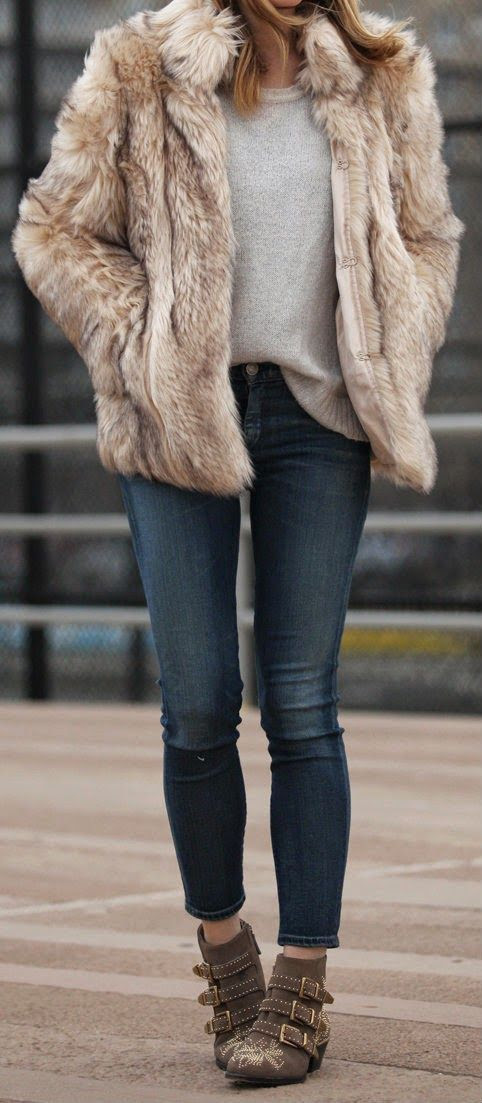 ROCKAWAY - Faux Fur Top with Gold Sign Jeans, Ribbed Sweater, Stud Bootie / Brooklyn Blonde