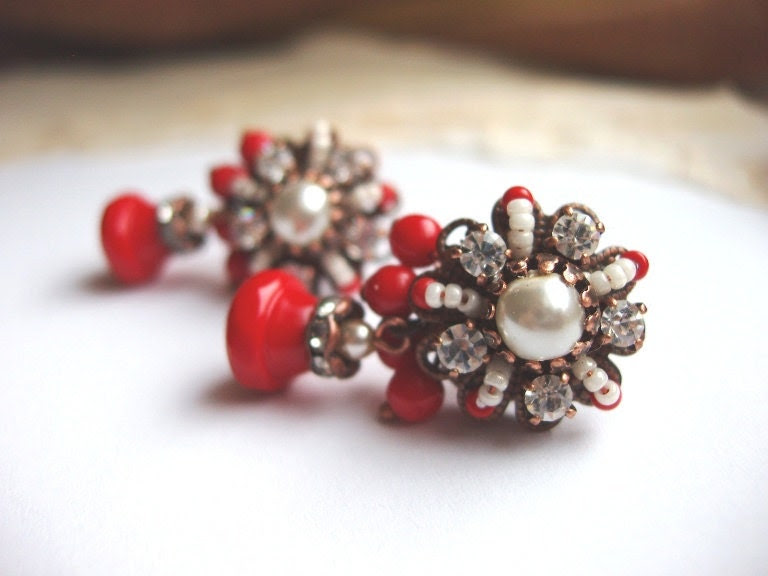 Valentine Bright Red Earrings with Imitation Pearls and Swarovski Rhinestones Antique Copper Post Vintage Stud Mad Men Style Contemporary - mdmButiik