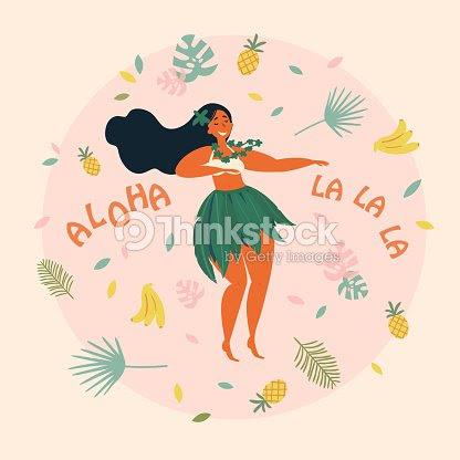 フラ ダンサー ハワイアン女の子のイラストルアウ祭 ベクトルアート