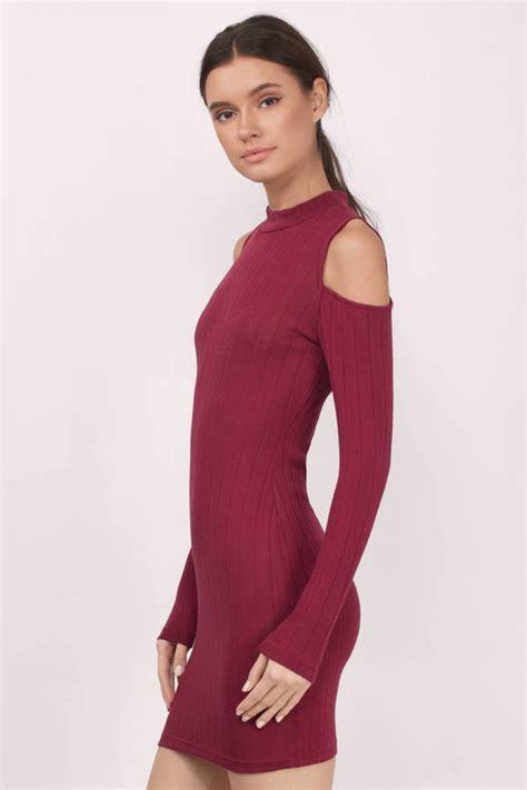 Wine Bodycon Dress   Red Dress   Long Sleeve Dress   Wine
