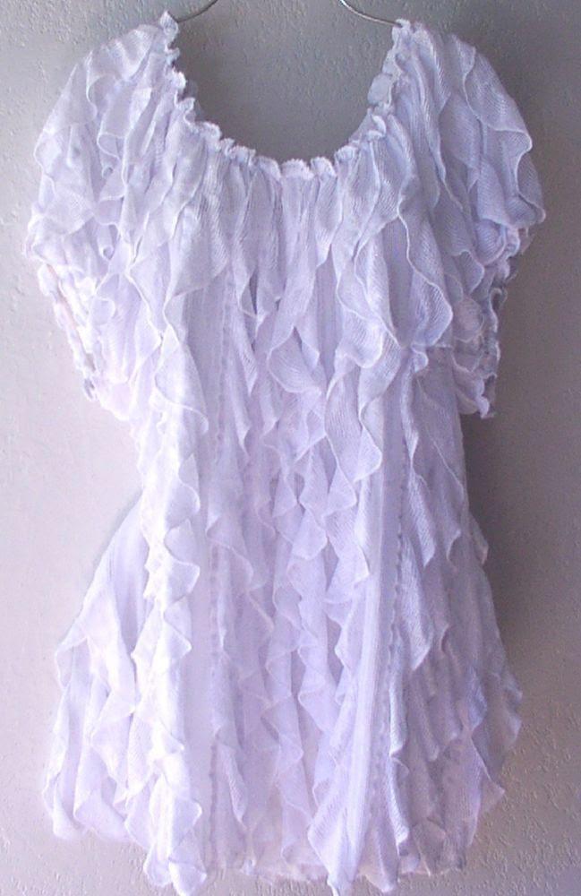 NEW~White Vertical Layered Ruffle Peasant Blouse Boho Plus Shirt Top~22/24/1X/2X