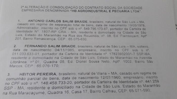 Alteração contratual da HB Agroindustrial com a inclusão do novo sócio Heitor Pereira, o mesmo da CBM