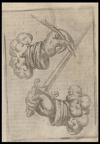 pen and sword from 'Artifices Defeu,  & diuers instruments de guerre' 1603 -  Boillot