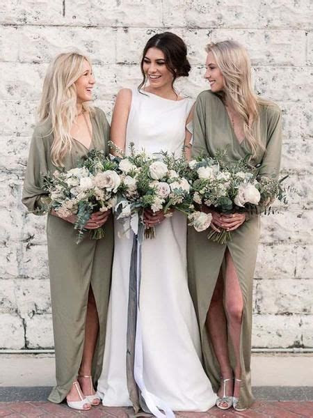 Unique Long Sleeves V Neck Green High Low Long Bridesmaid