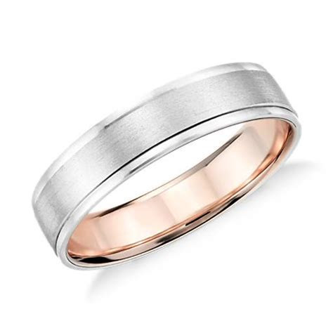Brushed Inlay Wedding Ring in Platinum and 18k Rose Gold