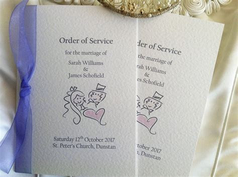 Bride and Groom Order of Service Books