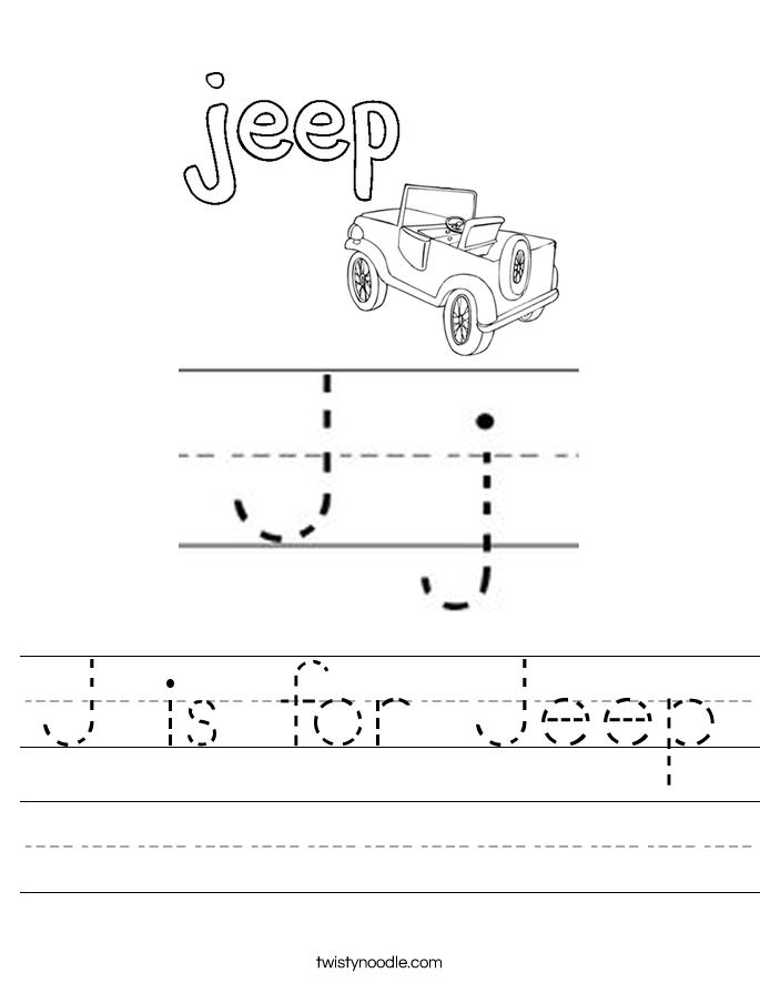 J Is For Jeep Worksheet Twisty Noodle