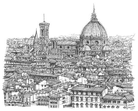 romantic florence skyline  ink drawing  building art