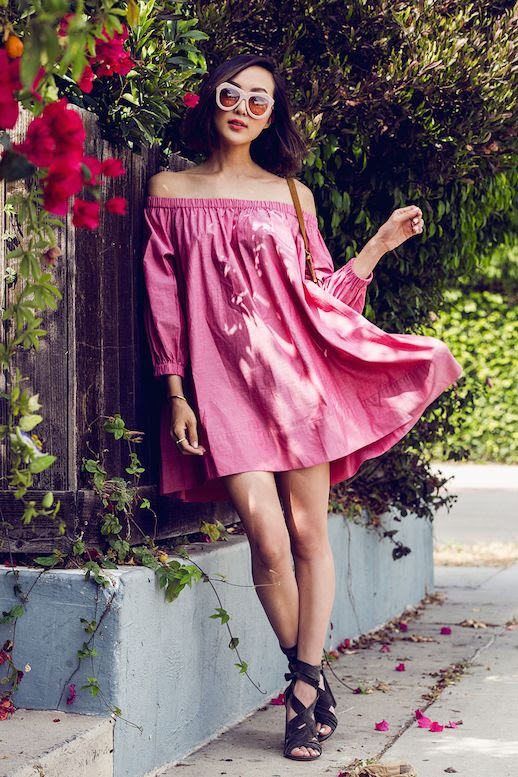 Le Fashion Blog Pink Off The Shoulder Dress Sandals Spring Outfit Via The Chriselle Factor