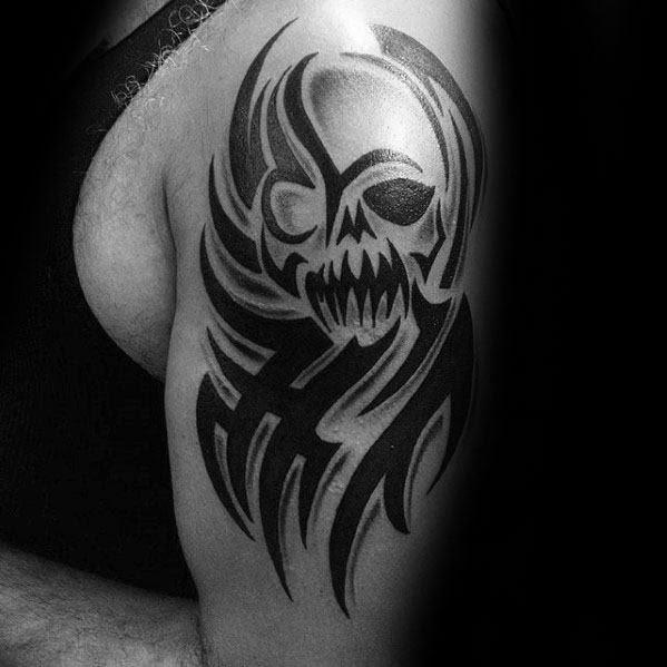 50 Tribal Skull Tattoos For Men Masculine Design Ideas