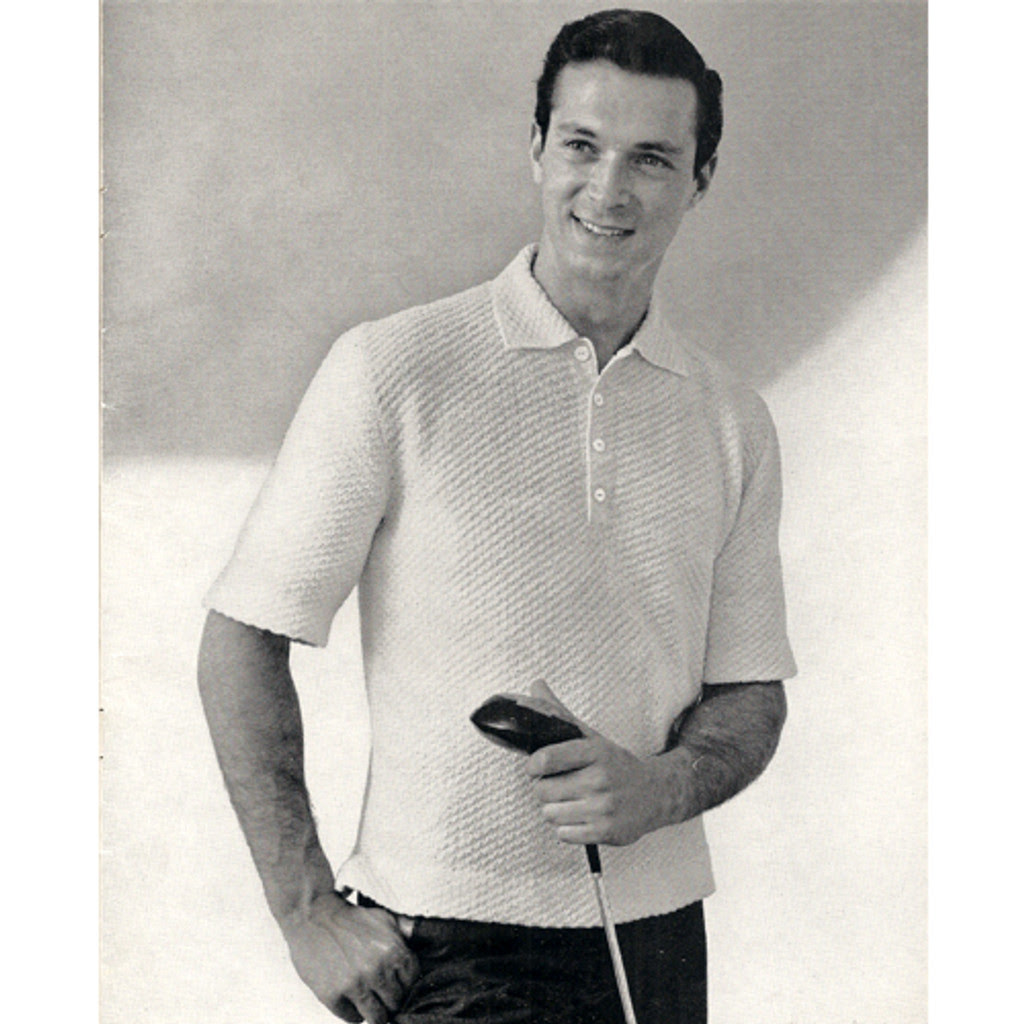 vintage short sleeve knitted shirt pattern for men