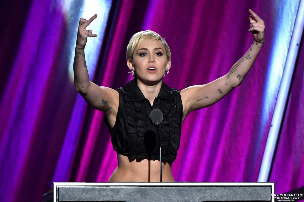 MILEY CYRUS at 30th Annual Rock and Roll Hall of Fame Induction Ceremony