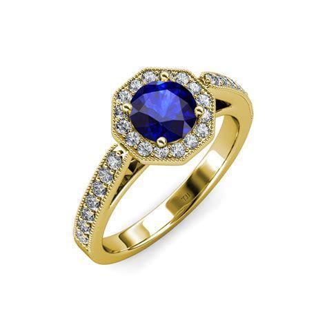 Blue Sapphire & Diamond Milgrain Work Halo Engagement Ring