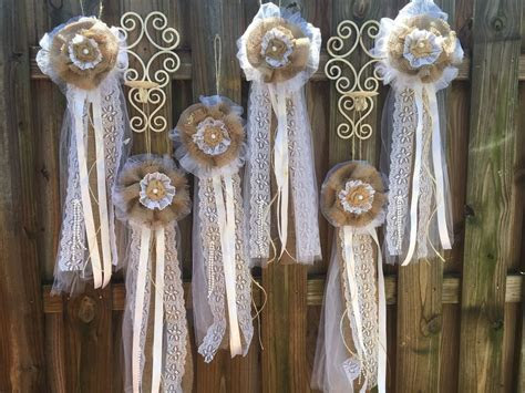 Set. 12 Rustic Vintage Tulle Burlap Bow Wedding Party