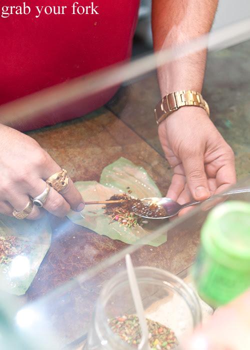 Preparing the paan at Durga Paan and Falooda House Harris Park
