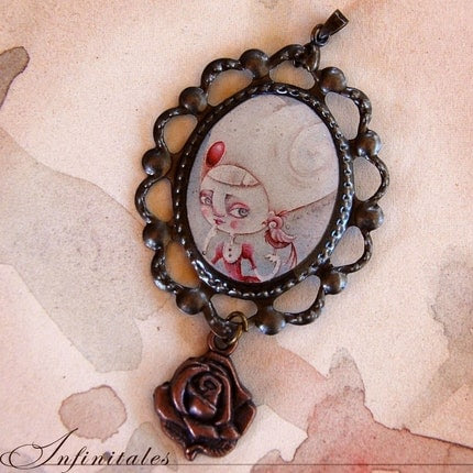 Cameo pendant  with charm - Once a little bird told me