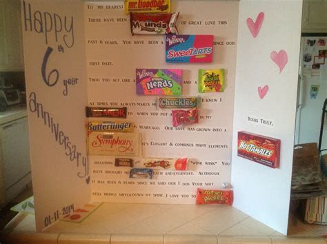 6 year wedding anniversary traditional gift candy or