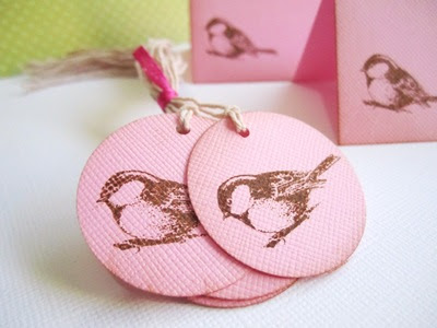 Vintage Chickadee Bird Tag for Party Favor or Gift