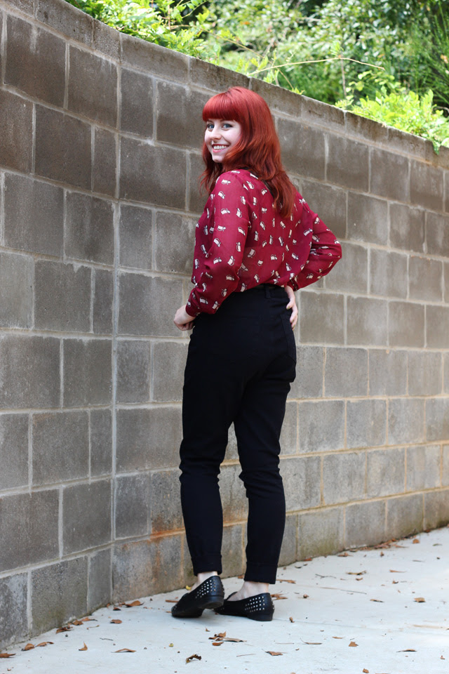 Black High Waist Pants and a Cat Print Blouse