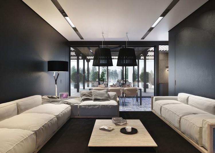 Wohnzimmer in Grau und Schwarz gestalten - 50 Wohnideen