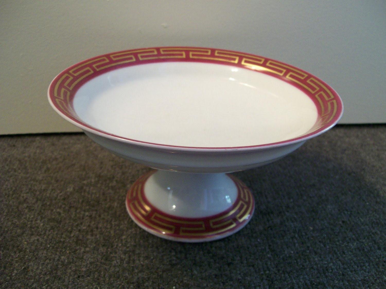 antique porcelain Greek key compote bowl 1860s