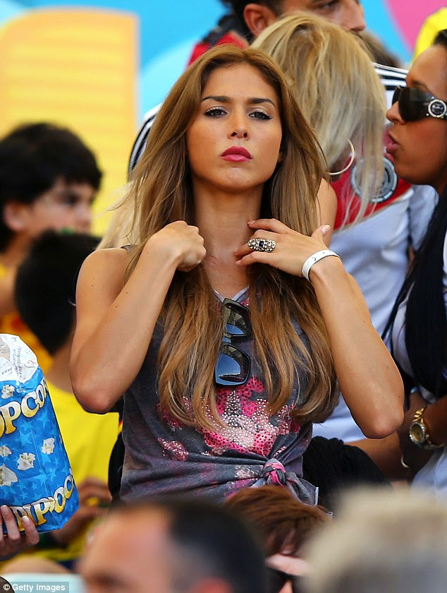 Strong: The fiercely independent model supported her boyfriend at the Brazil World Cup in 2014. She said: 'Although I am also the girlfriend of Mario Gotze, but I have my own personal goals I want to achieve'