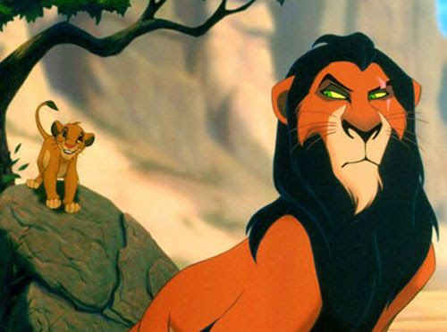Scar is resentful of his young nephew Simba in THE LION KING.