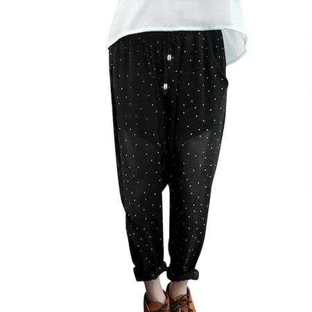 Women's Lady's Elastic Waist Dots Pattern Lining Chiffon Harem Pants (Size XS \/ 2)