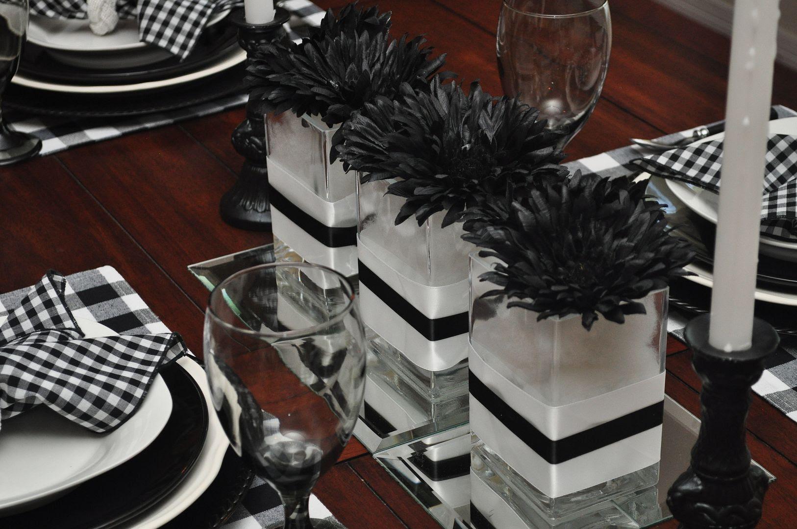 A table set in black & white buffalo check