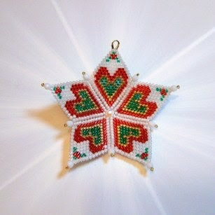 Christmas Red Swedish Heart Star Ornament Tree Decoration 14K gold Holly red holly green snowy white - NorthToAlaskaDesigns