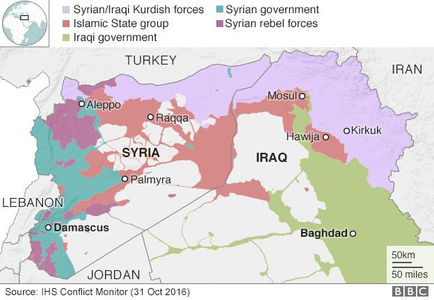 Map showing different areas of control in Iraq and Syria