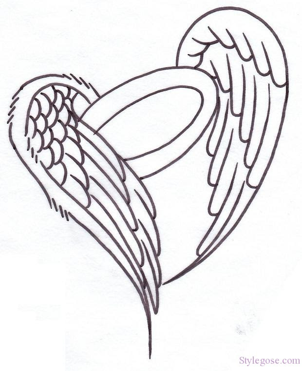 Heart With Angel Wings Drawing At Getdrawingscom Free For