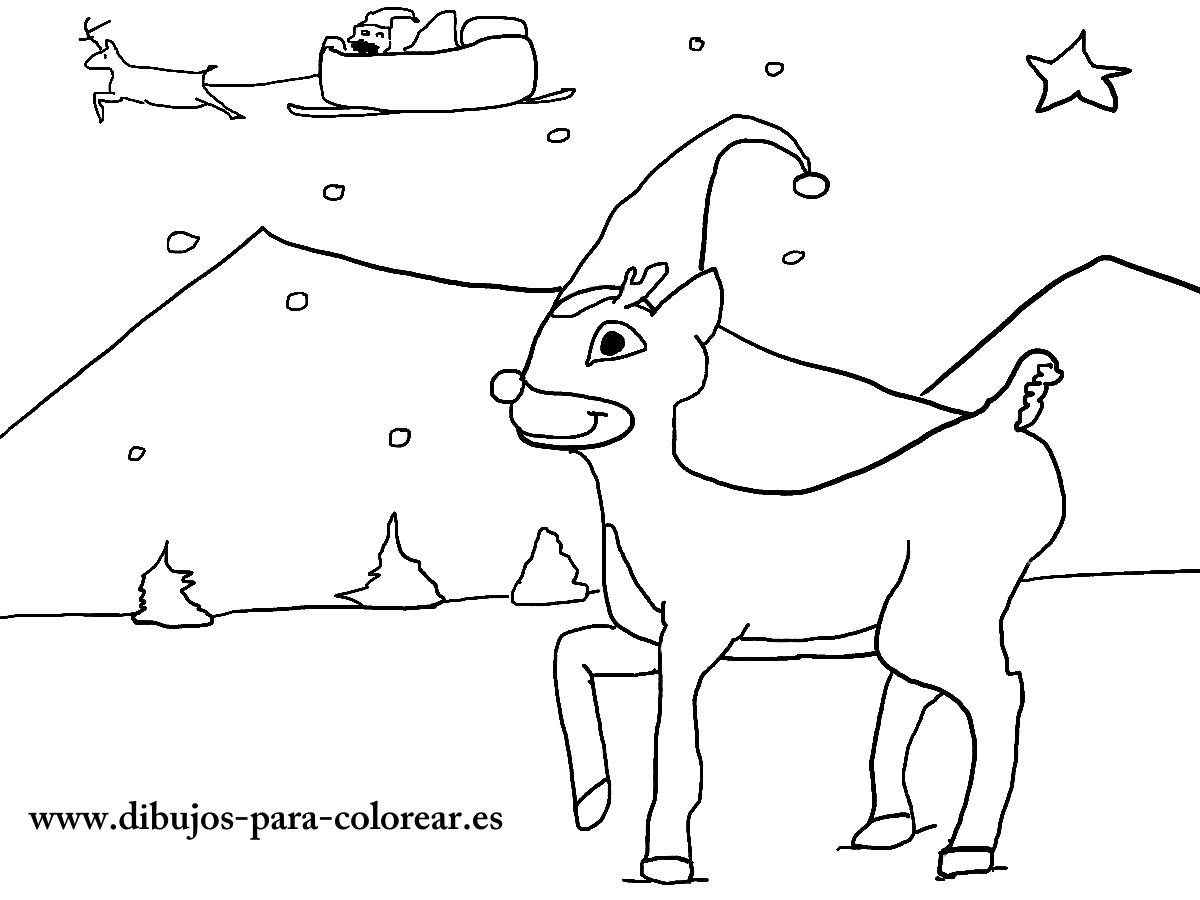 Los Renos De Santa Claus Dibujos Para Colorear