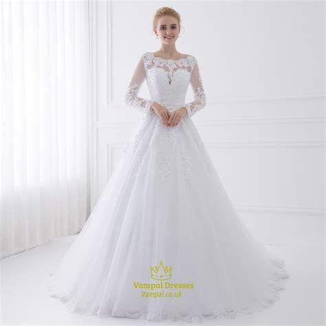 Illusion Long Sleeve Floor Length A Line Tulle Ball Gown
