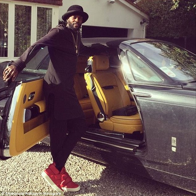 Adebayor posted a picture on his Instagram account of him standing beside the Rolls-Royce Phantom Drophead Coupe in February this year