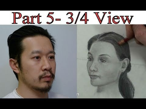 Part 5- Draw Head 3-4 View Step by Step + Tutorial - YouTube