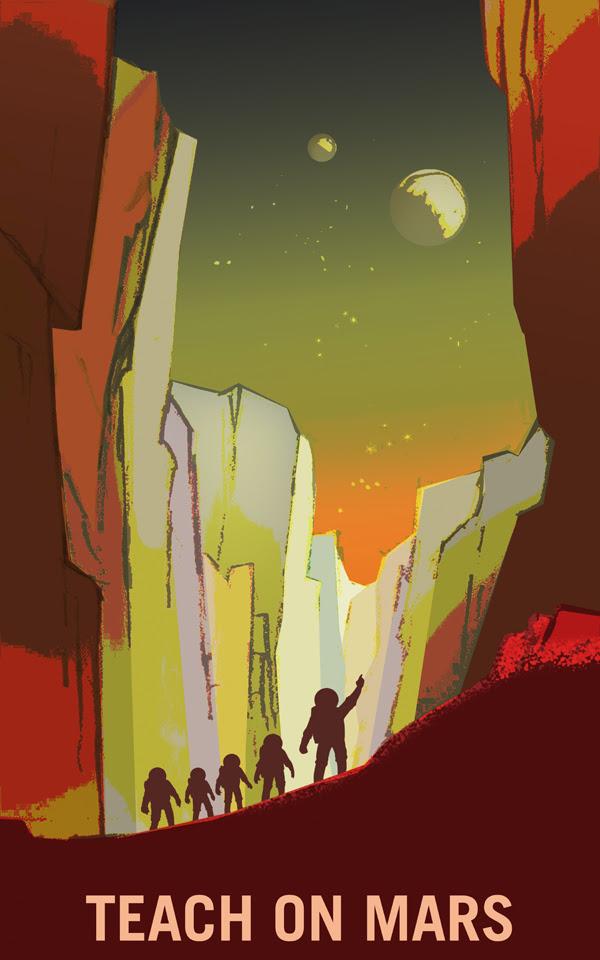 Xây dựng nền giáo dục Hỏa Tinh. Bạn sẽ có cơ hội được giảng dạy tại bên ngoài Trái Đất, những nơi bạn chưa từng nghĩ tới bao giờ, Sao Hỏa hoặc thậm chí là vệ tinh Phobos, Deimos. Không thành vấn đề về nơi chúng ta đang ở, chúng ta có thể khám phá và bổ túc những kiến thức mới về thế giới mới này. Credit: NASA/KSC.