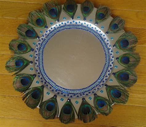Decorative Tray with Peacock Feathers. ? Raji Creations